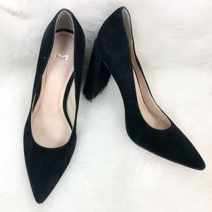 Marc Fisher Suede Pointed Toe Block Heel